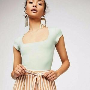 Free People Fair and Square Neck Bodysuit Green L